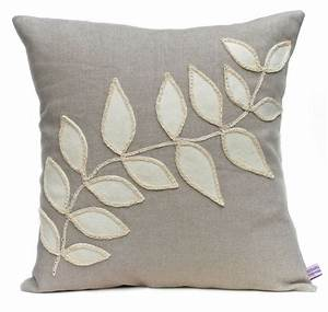 Handmade, Linen, Cushion, With, A, Cream, Wool, Felt, Leaf, Design