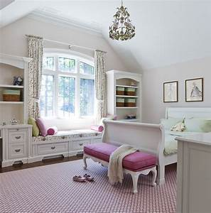 Jill Greaves Design Girl's Bedroom with Window Seat
