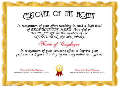 Employee Of The Month Certificate Template by Employee Of The Month
