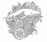 Coloring Behance Vector Illustrations Leafs Whale Isolated Flowers sketch template