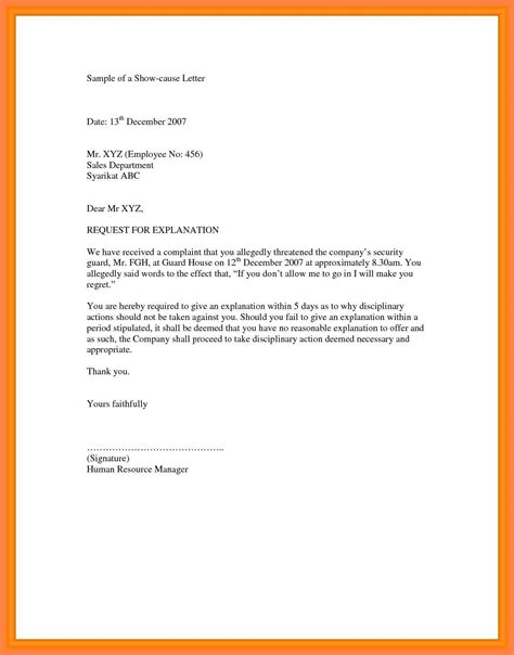 notice  explain letter sample  response  tardiness