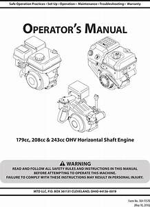 Mtd 165 Wu User Manual Engine Manuals And Guides 1610017l