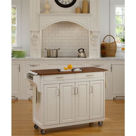 home styles create a cart white kitchen cart with towel