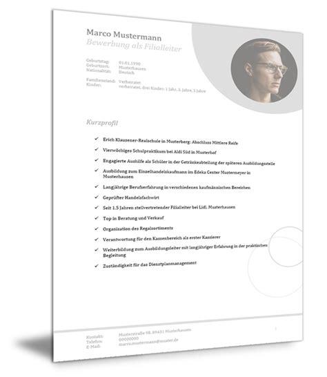 Muster Für Einen Lebenslauf by Bewerbung Und Lebenslauf Muster Als Filialleiter