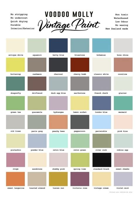 vintage paint colour chart the living room collective