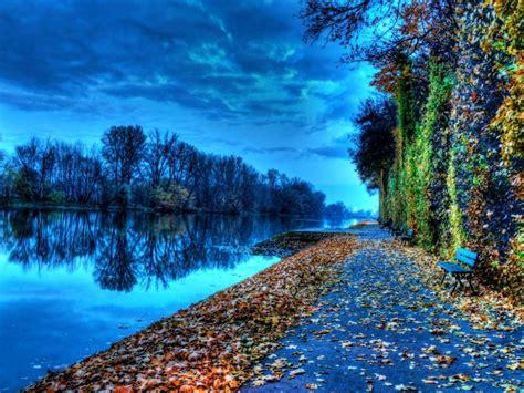 Riverside Bench During Autumn Nature Hd Wallpaper ...
