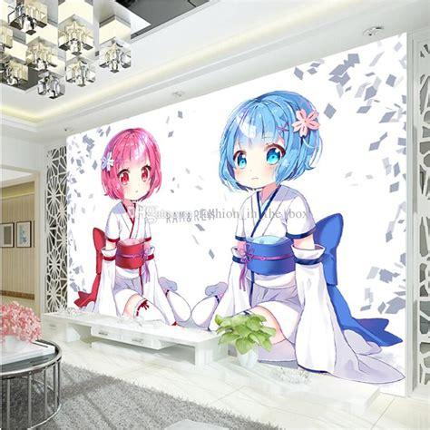 Anime Mural Wallpaper - japanese anime wallpaper rem ram wall mural custom 3d
