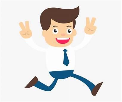 Happy Cartoon Businessman Clipart Hands Raised Transparent