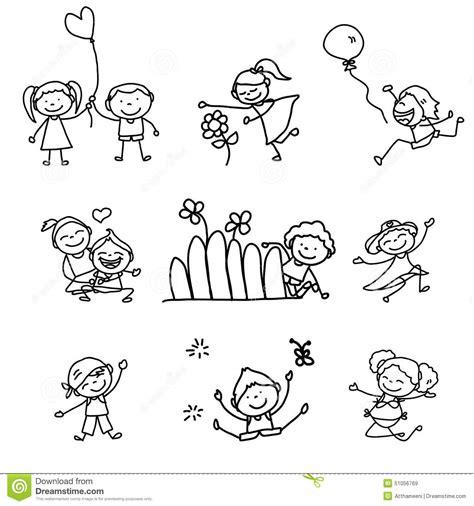 si e free bambini felici fumetto disegno della mano