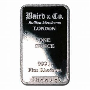 Baird Mint One Ounce Rhodium Bar | Golden Eagle Coins