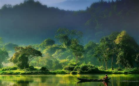 Nature, Landscape, Mist, Sunrise, Forest, River, Mountain