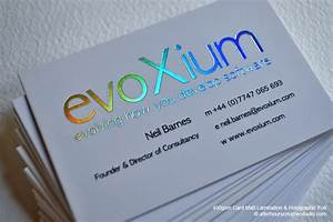Holographic foil business card evoxium for Holographic business card