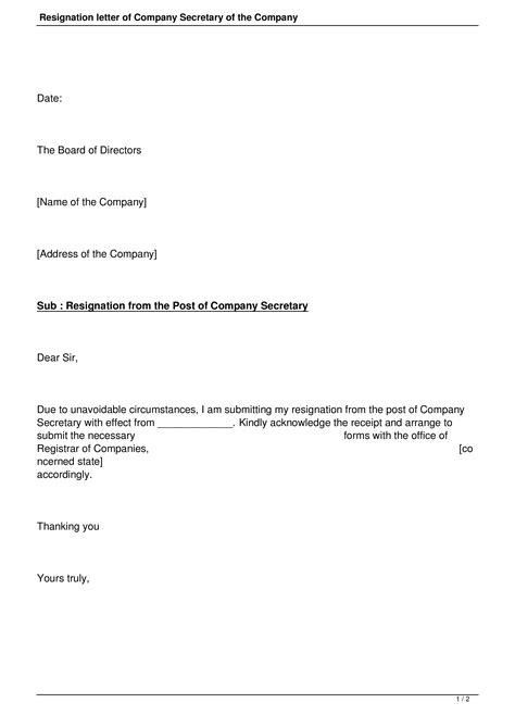Corporate Secretary Resignation Letter | Templates at allbusinesstemplates.com