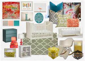 Coral Teal and Gray Baby Bedding