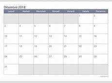 Calendario dicembre 2018 da stampare iCalendarioit
