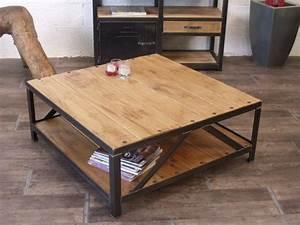 table basse carre industrielle bois metal tables basses With table basse et meuble tv assortis 4 table basse industrielle 40 idees vintage ou design moderne