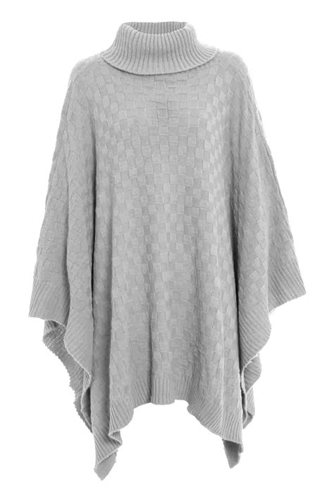 womens grid knitted wrap polo cowl turtle neck poncho