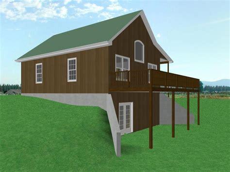 small house plans  walkout basement small house plans  loft garage cabin plans