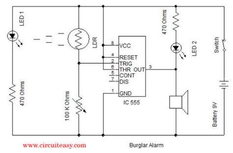 burglar alarm circuit and projects diy burglar alarm simple electronics project and circuits
