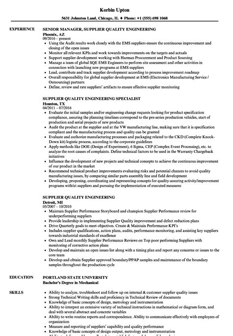 supplier quality engineering resume samples velvet jobs