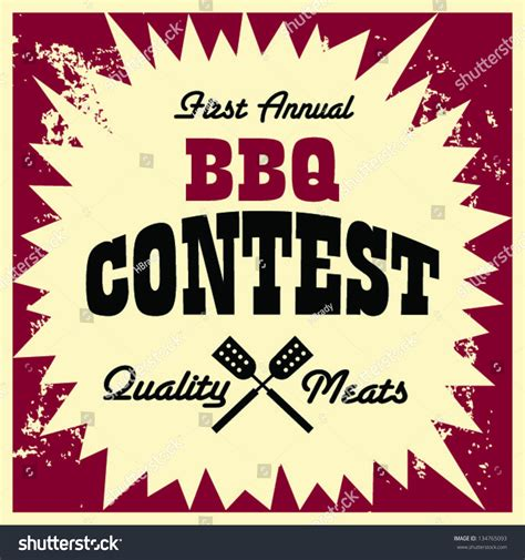 vintage bbq contest image stock vector