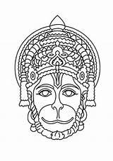 Hanuman Drawing Mask Sketches Sketch Lord Schools Rama Drawings Line Ji Shiva Pencil Painting God Coloring Mandala Hide Dragon Primary sketch template