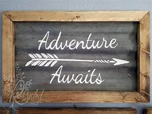 Metal And Woods : reclaimed wood and corrugated metal sign adventure awaits ~ Melissatoandfro.com Idées de Décoration