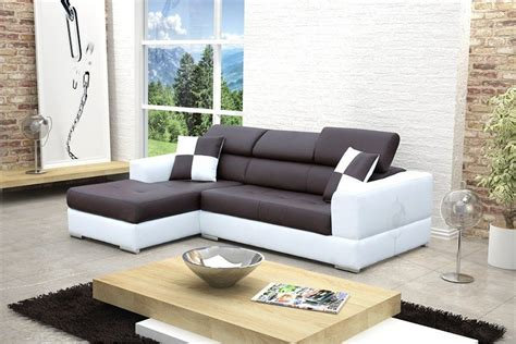 canape d angle marron canapé design d 39 angle madrid iv cuir pu noir et blanc
