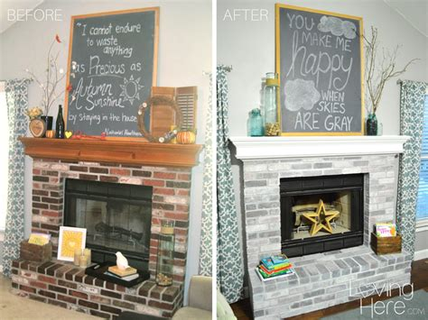 How To Whitewash Brick-our Fireplace Makeover-loving Here