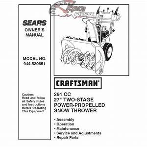 Craftsman Snowblower Parts Manual 944 520651