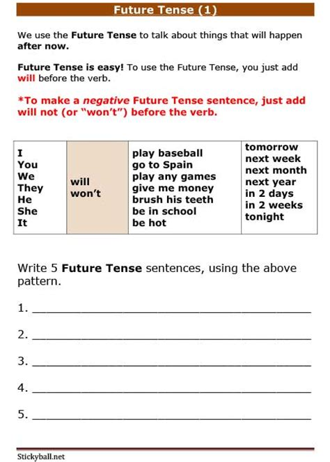 esl grammar worksheets future tense