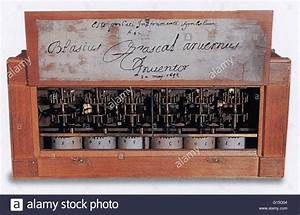 Showing the inside of a Pascaline mechanical calculator ...