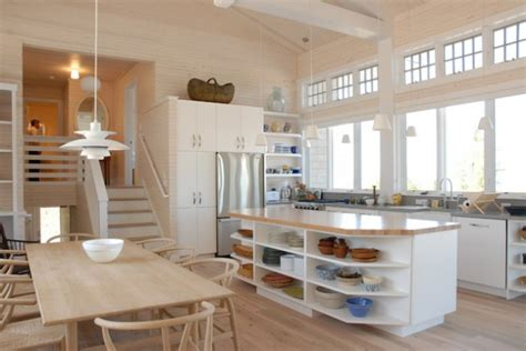 practical kitchen island designs  open shelving