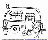 Camping Coloring Camper Trailer Patterns sketch template