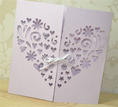 heart laser cut gatefold wedding invitation  sweet pea