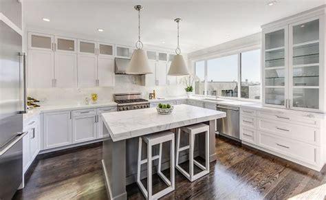 gray center island contemporary kitchen marsh  clark