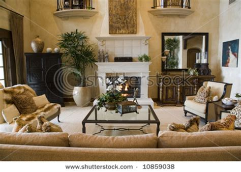 Luxury Home Living Room With Contemporary Decor. Stock