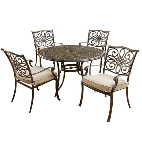 round table patio set outdoor hanover traditions 5 piece patio outdoor dining set with 4