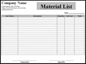 material list templates word  formats sample templates