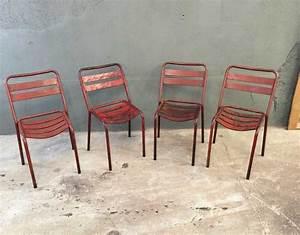 Chaise Bistrot Metal : ensemble 4 chaises bistrot style tolix ~ Teatrodelosmanantiales.com Idées de Décoration