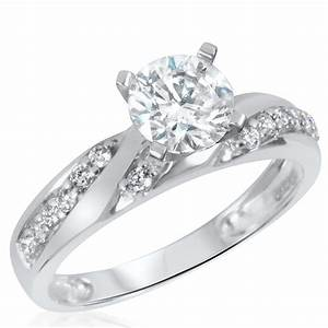 1 1 2 ct tw diamond women39s bridal wedding ring set 10k With white gold womens wedding rings