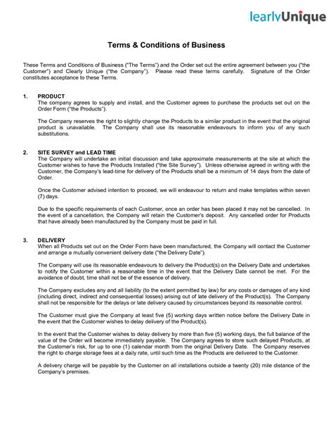 Terms And Conditions Template Tryprodermagenixorg