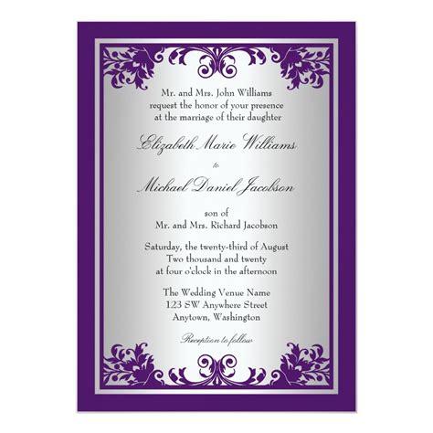 Purple and Silver Vintage Flourish Scroll Wedding Card