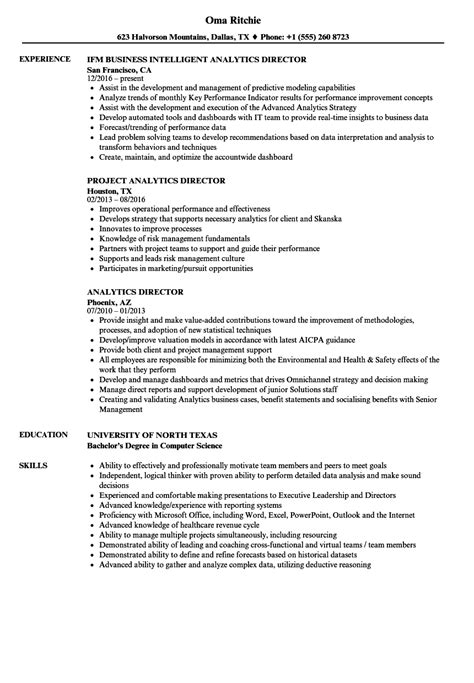 Analytics Director Resume Samples | Velvet Jobs