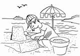 Coloring Sand Seaside Castle Boy Build Pages sketch template