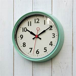 1950s mint green metal wall clock dotcomgiftshop for Green wall clocks uk