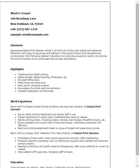 Professional Digital Print Operator Templates To Showcase. Resume Form Template. Retail Store Manager Resume Examples. Room Service Server Resume. Free High School Resume Template. Sample Of A Resume Letter. Risk Manager Resume. Resume Style Guide. Legal Assistant Resumes