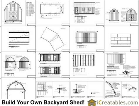 12x24 Shed Plans Materials List by 12x24 Gambrel Shed Plans 10x10 Barn Shed Plans