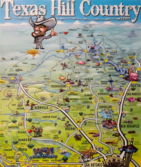 texas hill country map poster texas hill country