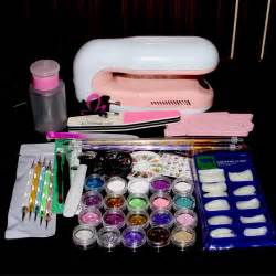 Nail kit acrylic powder brush w uv lamp dryer art